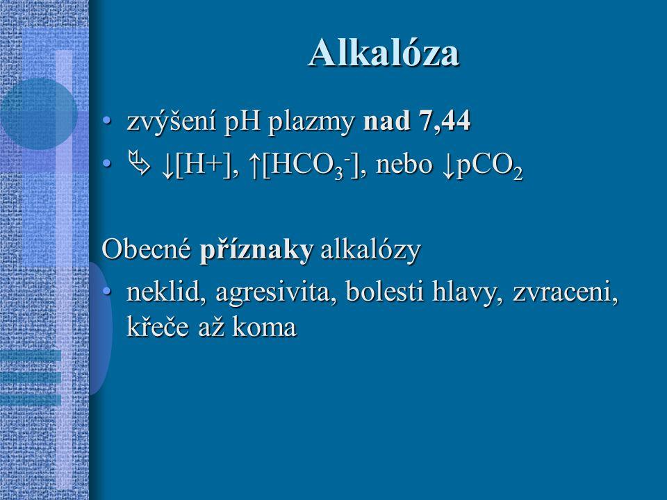 Alkalóza zvýšení pH plazmy nad 7,44  ↓[H+], ↑[HCO3-], nebo ↓pCO2